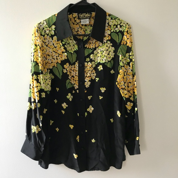 8ee10d7333275 Bob Mackie Tops - Bob Mackie Wearable Art Silk Black Floral Blouse